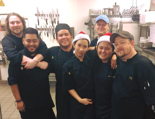 Chrismast in the River Landing kitchen with Chef Phil, far right.
