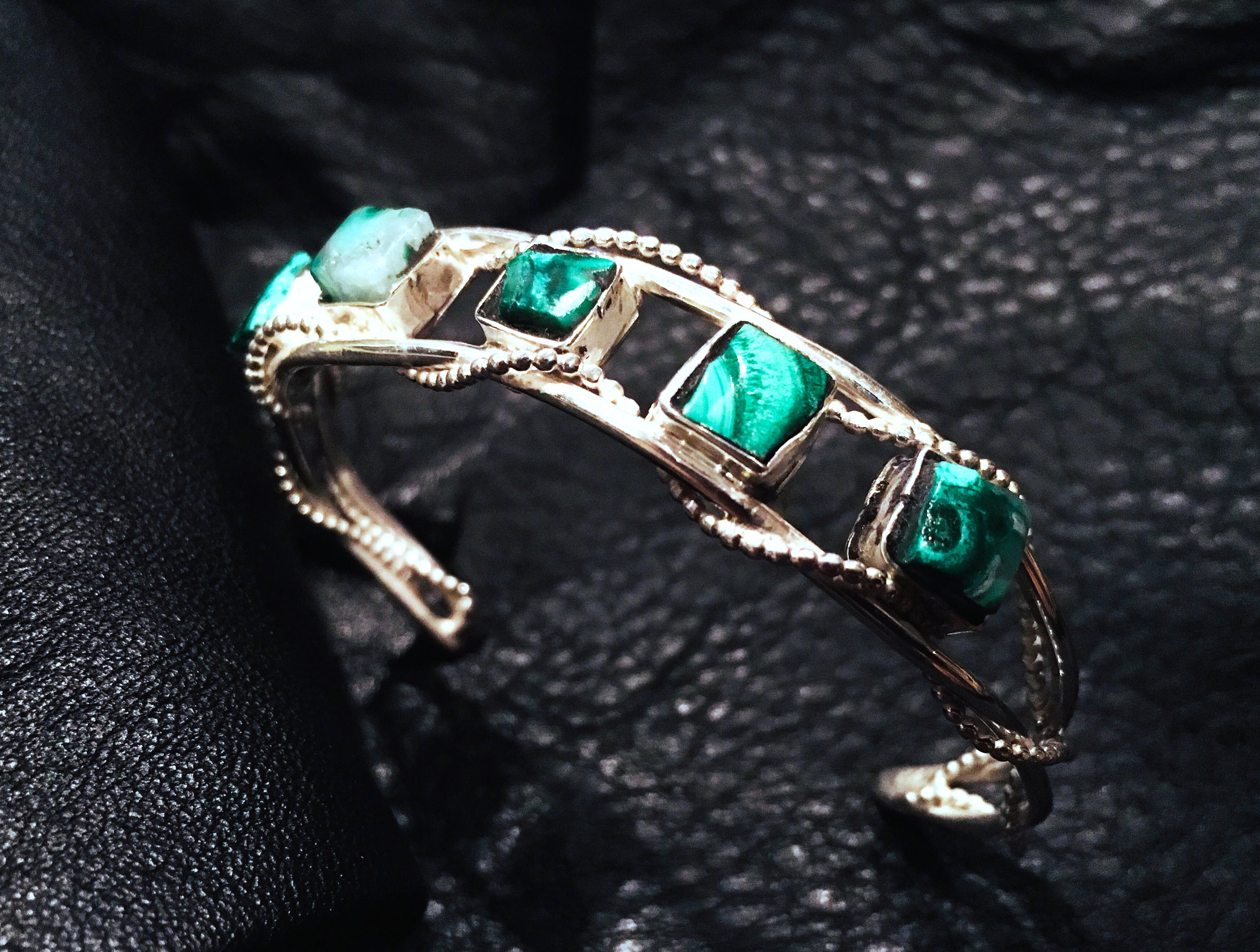 Malachite small ss bezel bracelet 1.jpg