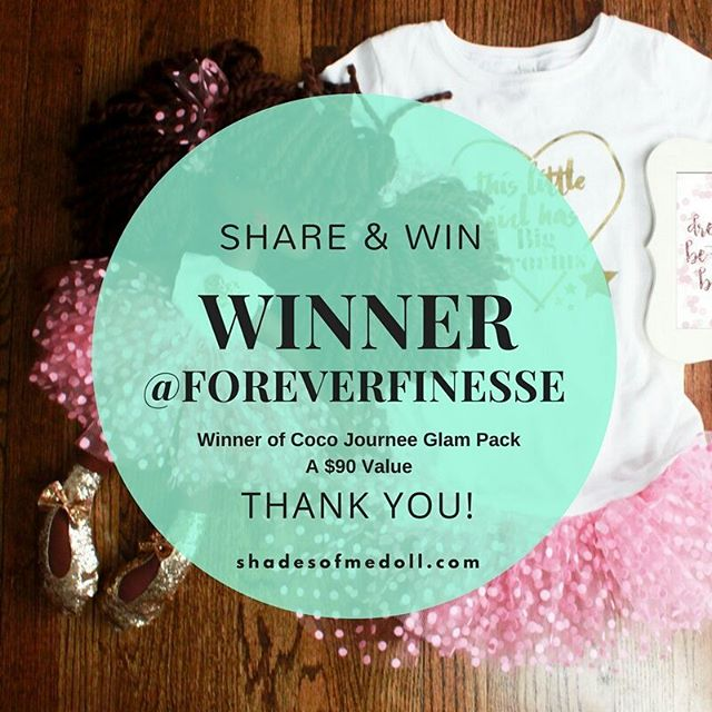 Thank you to those who participated. Our Glam packs are great gifts for your girls to have. @foreverfinesse will receive a Coco Journee Glam Pack (A $90 Value). The package includes doll, matching tee for girl, inspirational framed quote, official doll birth certificate and an organza doll storage bag. More giveaways coming soon! THANK YOU AGAIN XOXO JOURNE AND LAURIE  #shadesofmeglamgiveaway #shadesofmedoll #shadesofme #girlboss #kidpreneur #blackdolls
