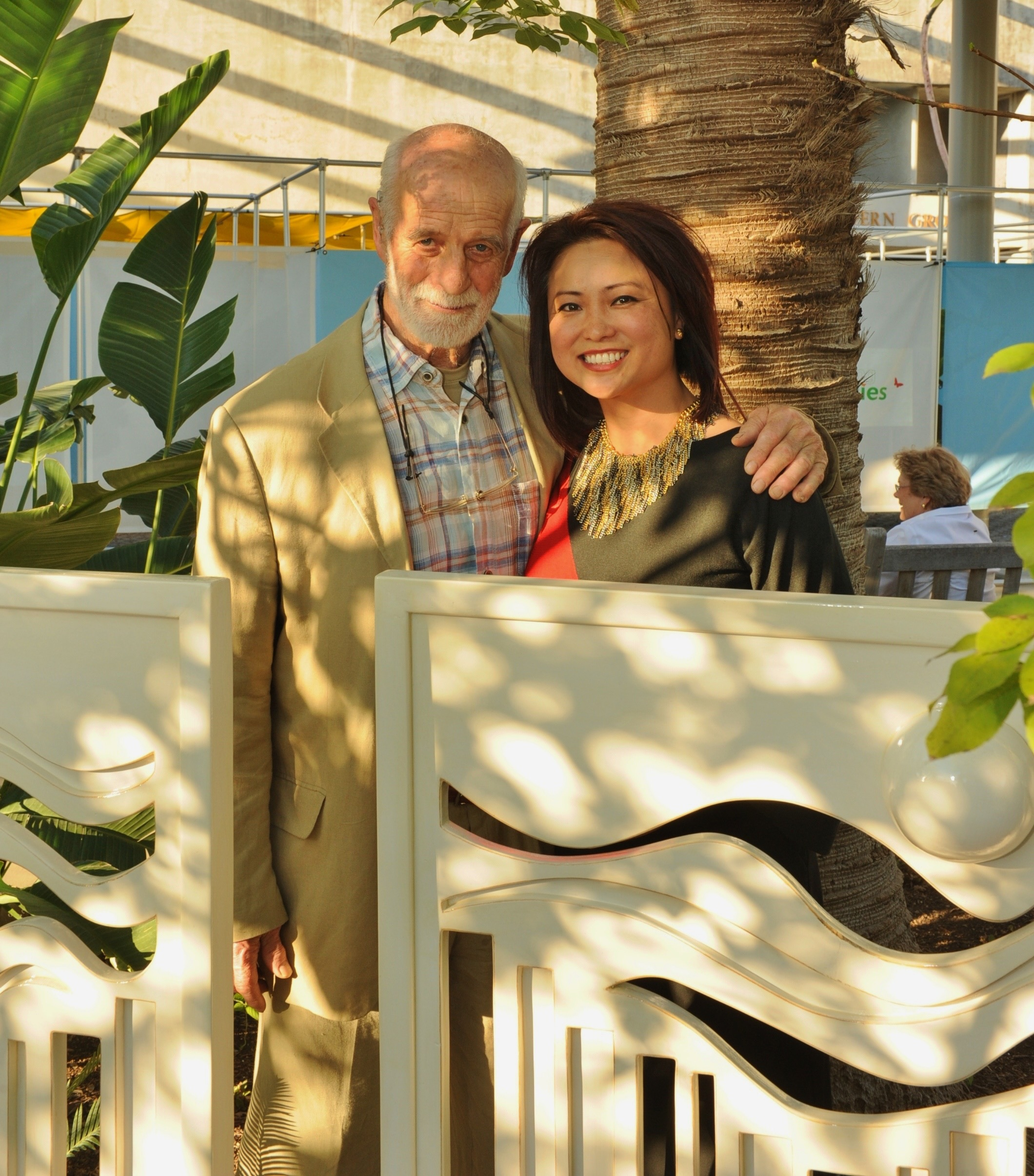 Linda and renowned artist Philip King with her work  Garden Screens  at the San Antonio Botanical Garden - 2012