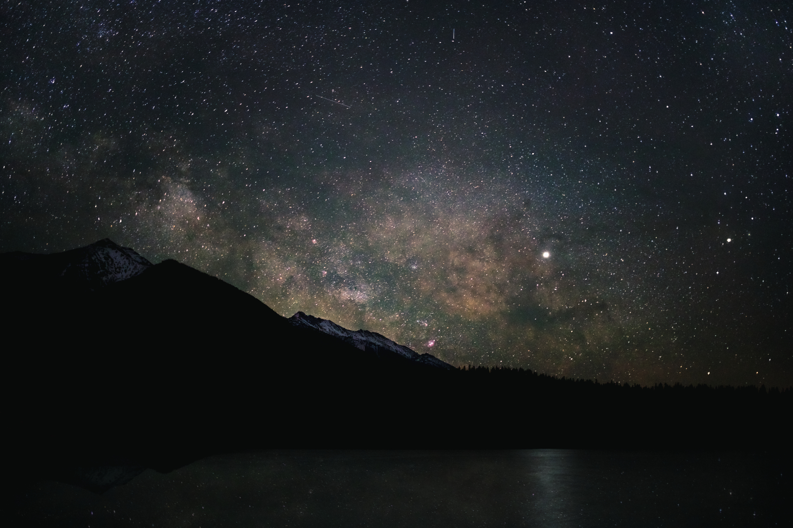 A delightfully clear night at Holland Lake. Jupiter rises with the Milky Way.