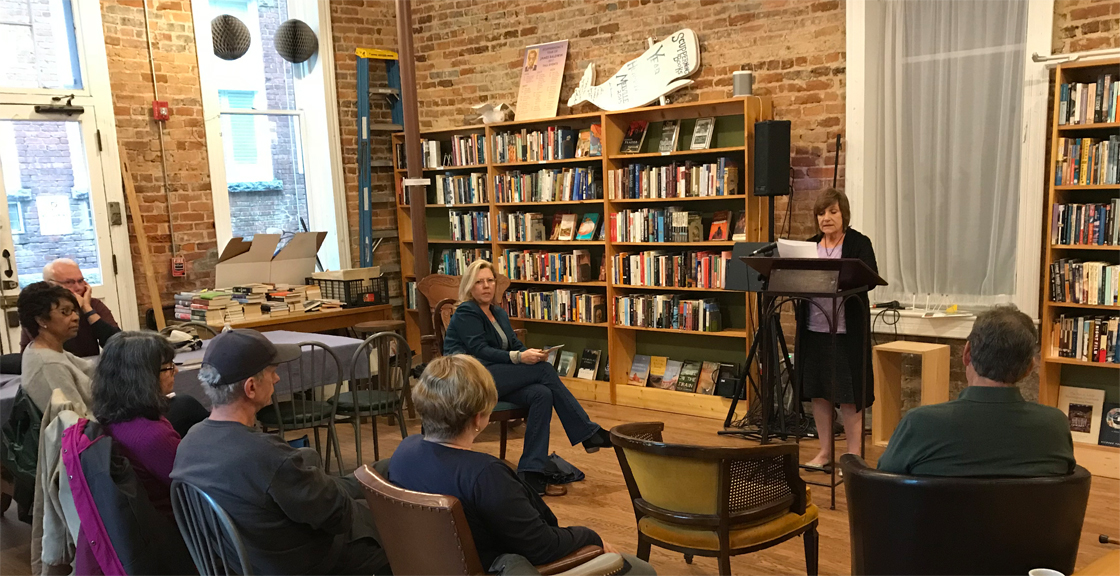 "Valerie Paterson shares her story ""Me Alone"" at an open mic event at Scuppernong Books in Greensboro, NC. - April 23"