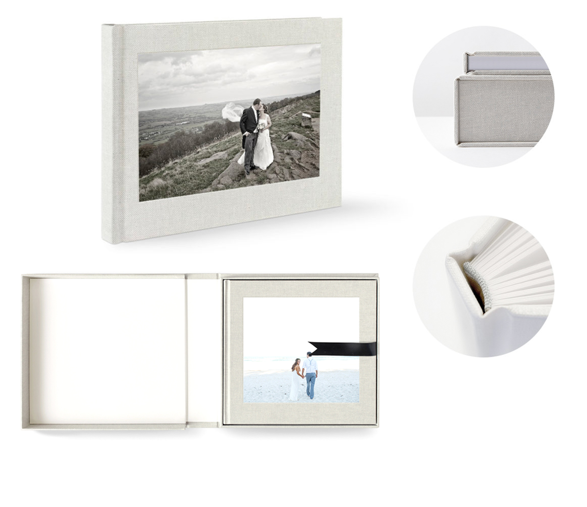 Premium Photo Book Album - The crème de la crème of the album range. A large 32 x 24cm, hand-made photo book, exquisitely bound in a Metallic Pearl Buckram hard cover and presented in a Buckram presentation box. The book is made up of 120 FSC approved, premium, acid-free pages that tell the story of your unique and special day with hand selected and edited photos.Price: £450 (Plus P&P)Order / More Info