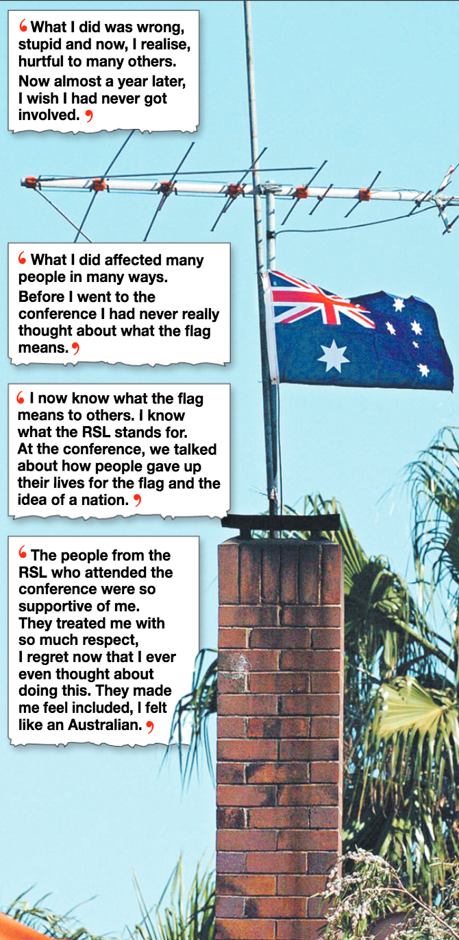 Symbolic gesture . . . the Australian flag flies proudly above the home of the convicted youth.