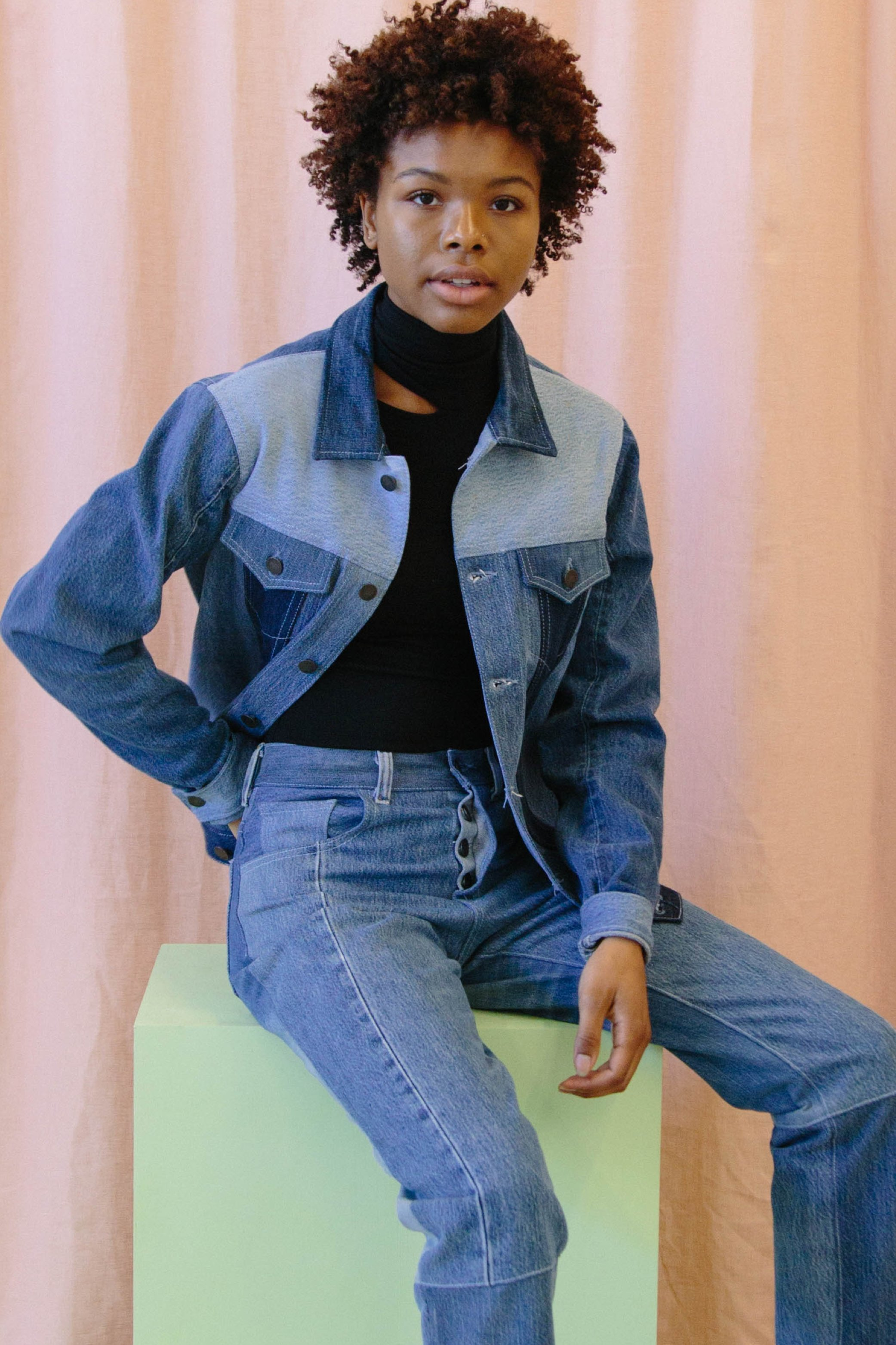 Blue denim oversized jean jacket