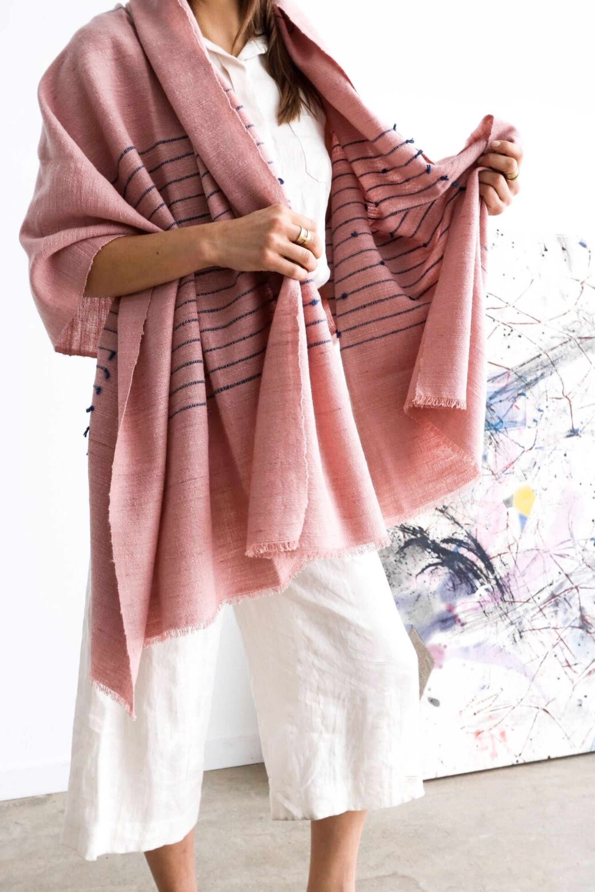 Rosewood throw handwoven - merino wool & cotton