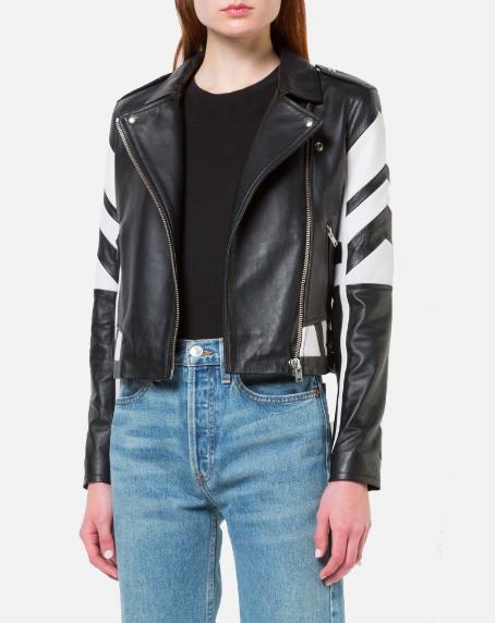 Helvi Leather Jacket in Black/White from Reservoir