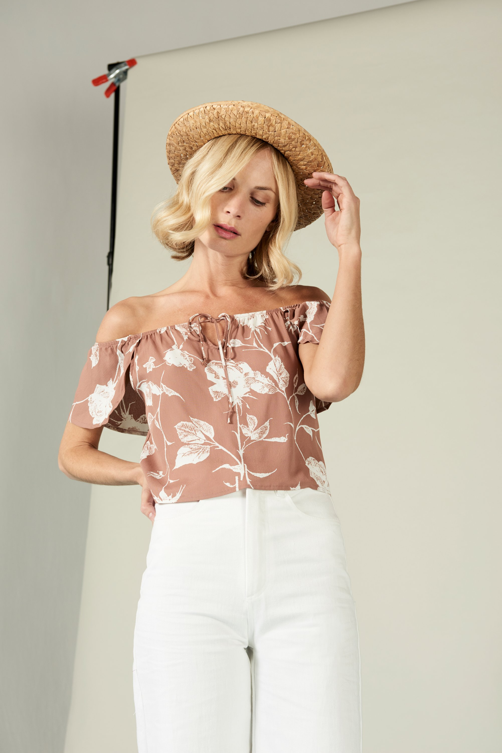 Jeanne Off Shoulder Crop in Mauve Floral from Whimsy and Row