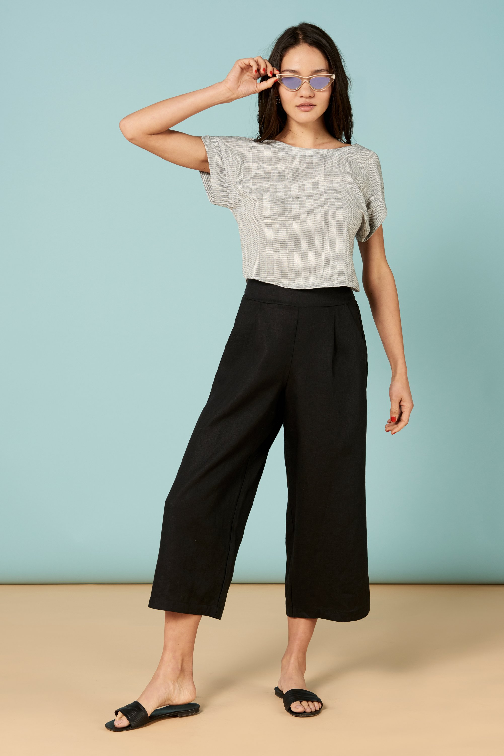 Valentina Pant in Black Linen from Whimsy and Row
