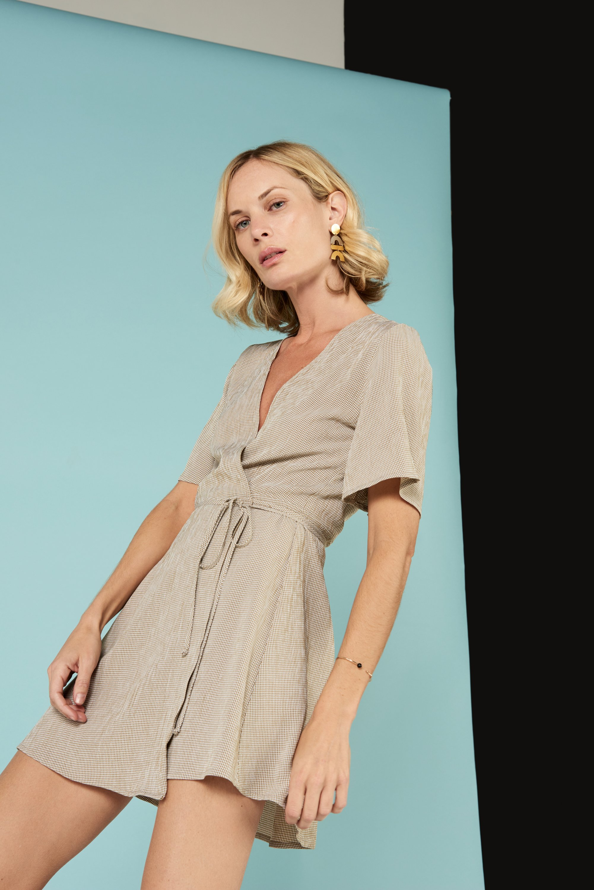 Marianne Wrap Dress in Gingham from Whimsy and Row