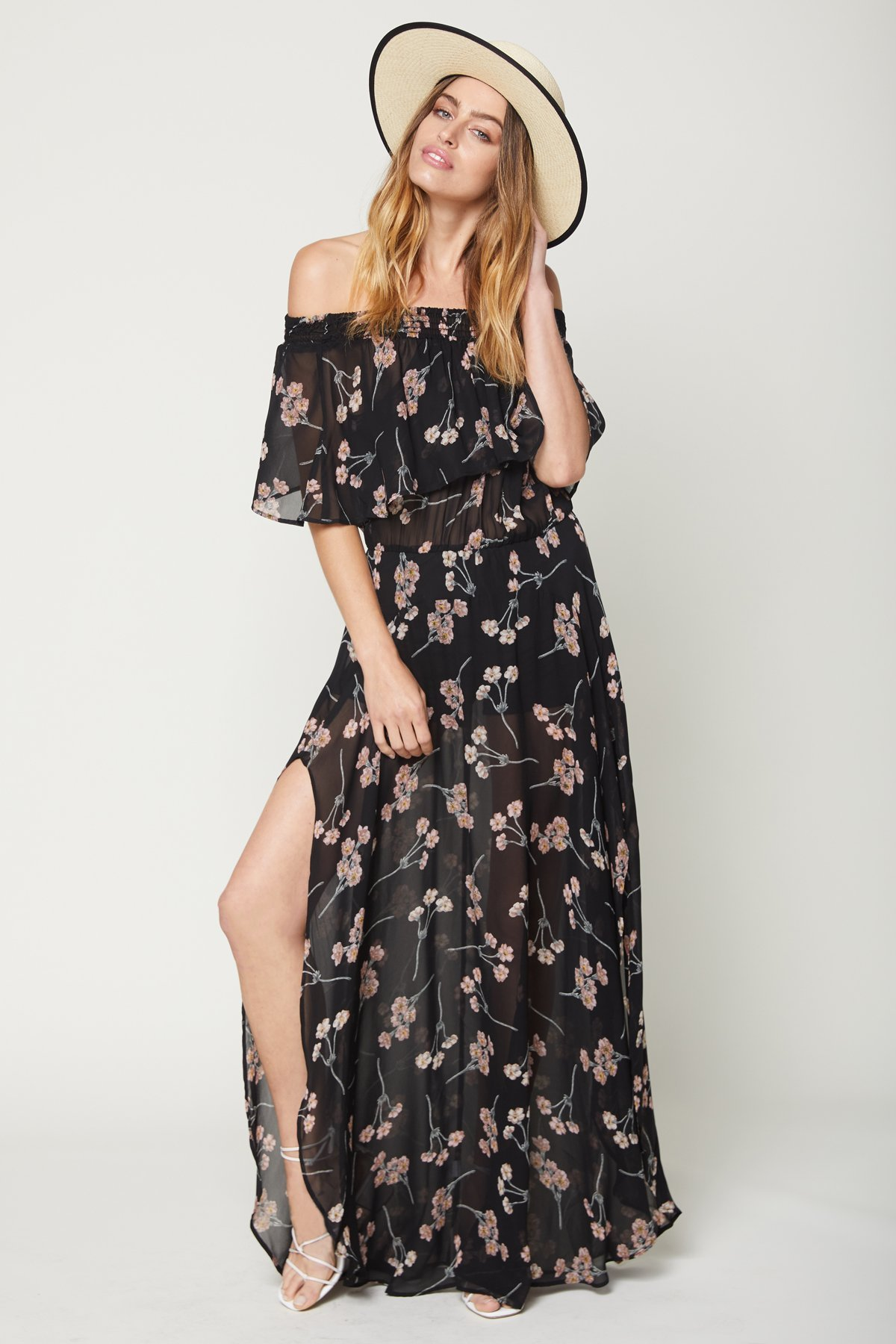 Miranda Maxi Dress in Black Cherry Blossom from Brigitte & Stone
