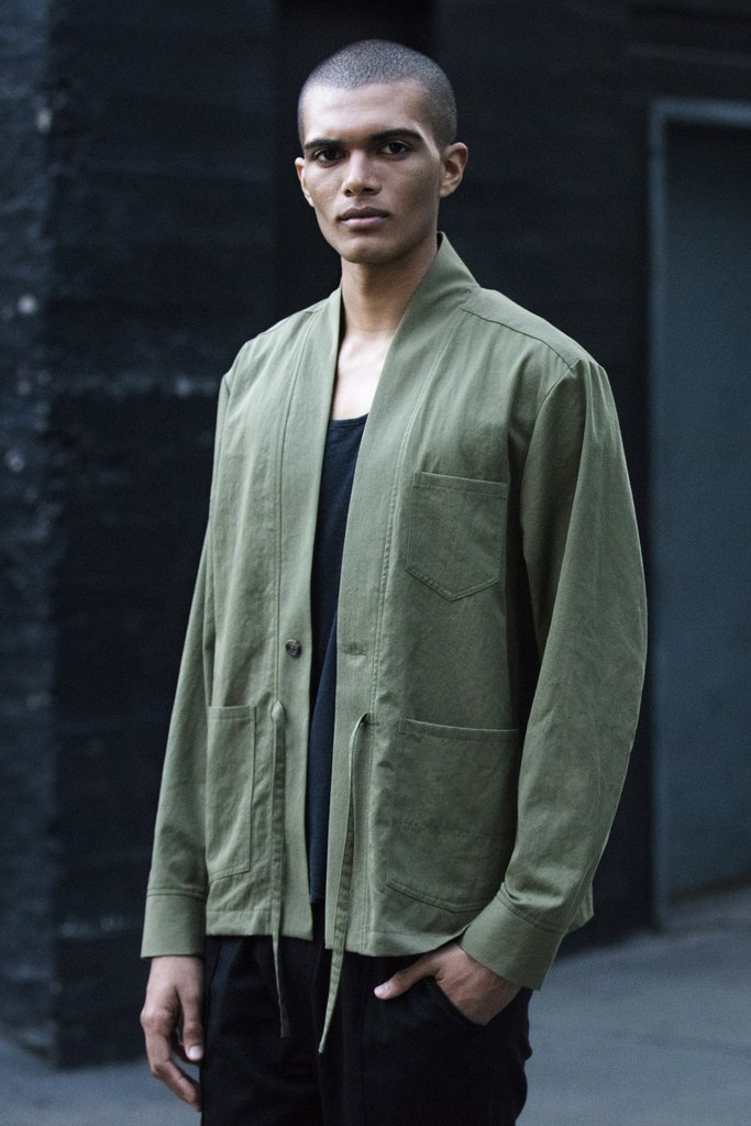 One Button Kimono in Olive by Shades of Grey