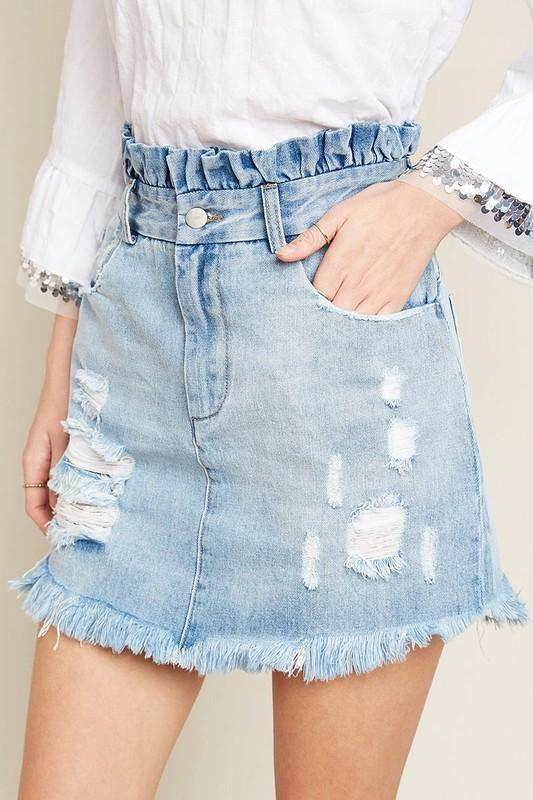 Mom's Denim Skirt in Light Denim from Gingerly Witty