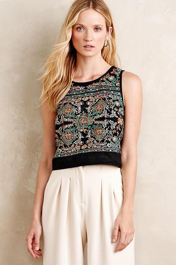 Floral Motif Embroidered Cropped Tank from Gingerly Witty