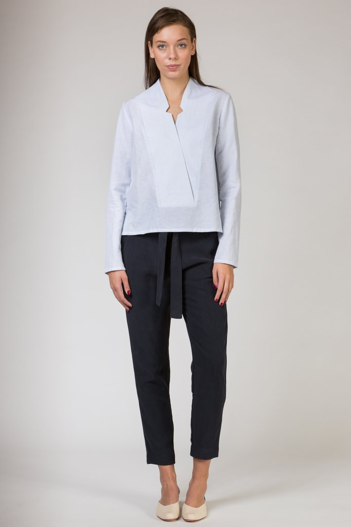 Long Sleeve Notched Shirt with Powdered Blue Stripe by Shades of Grey