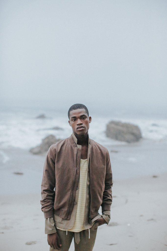 Paneled Bomber in Brown by Shades of Grey