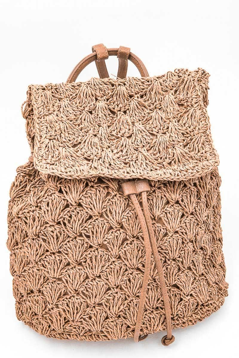 Beach Bum Straw Backpack - $66