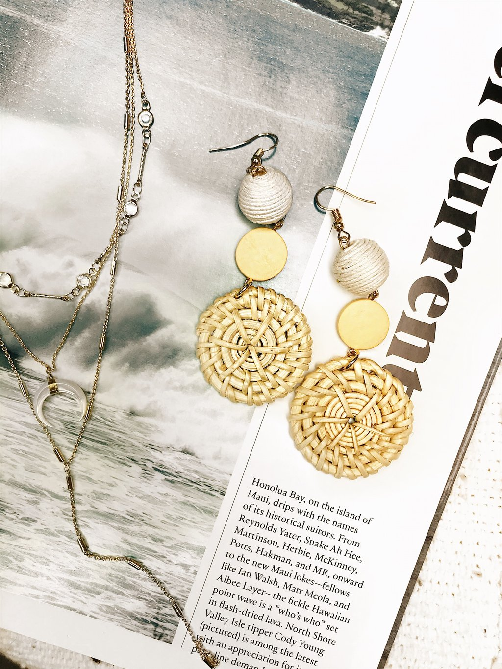 Weekend Getaway Circle Straw Earrings - $32