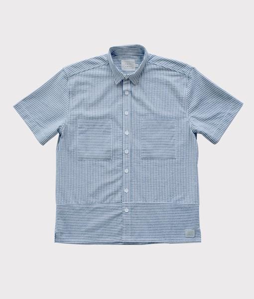 SHORT SLEEVE SEERSUCKER BUTTON UP GRAY/WHITE - $68.00