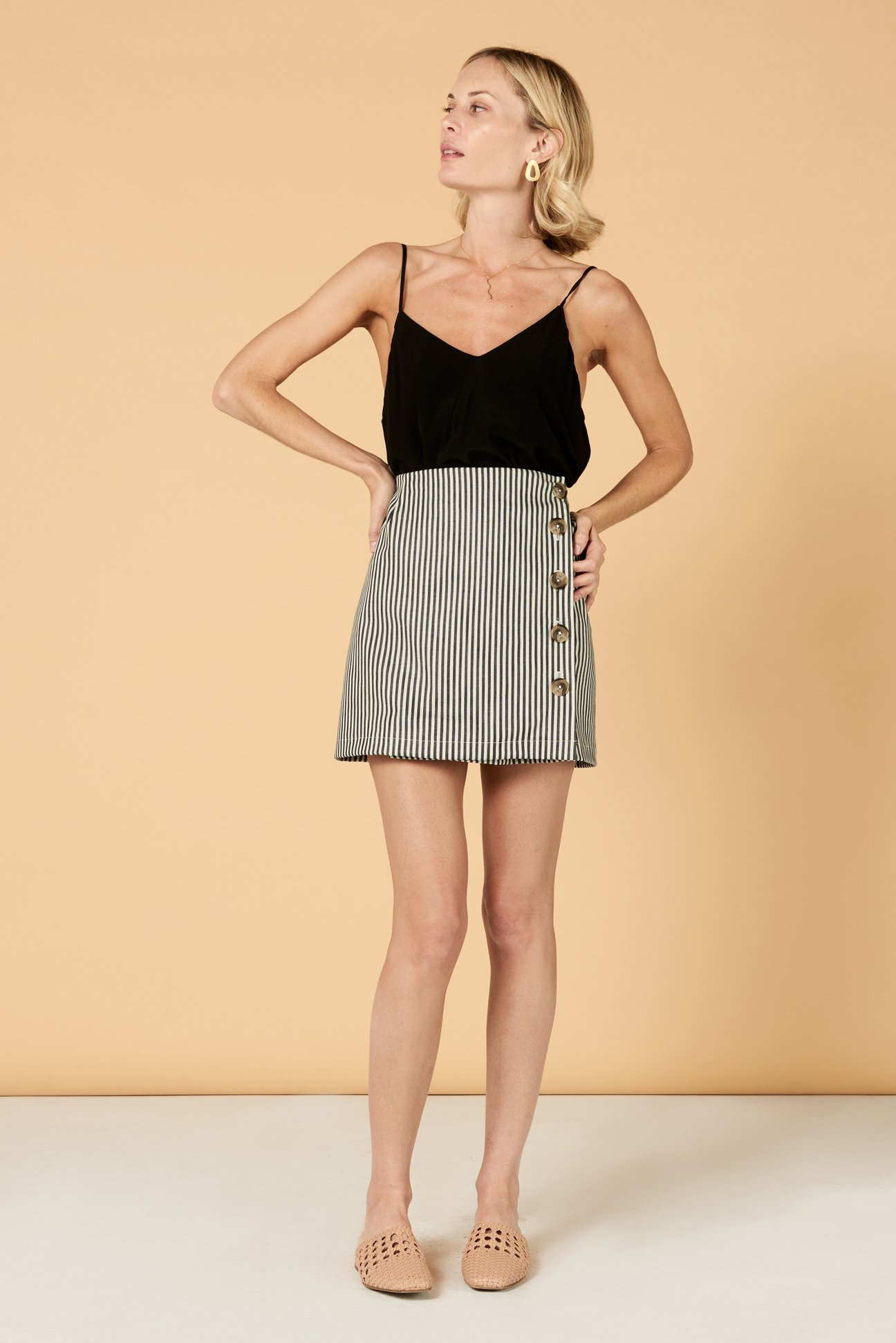Paloma Skirt in Black Strip - $132