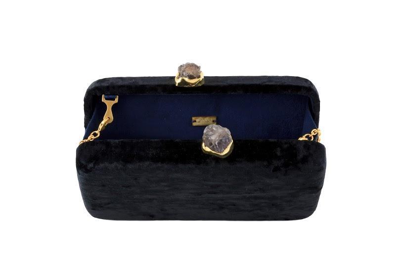 Margaux black Velvet Clutch Bag - $170