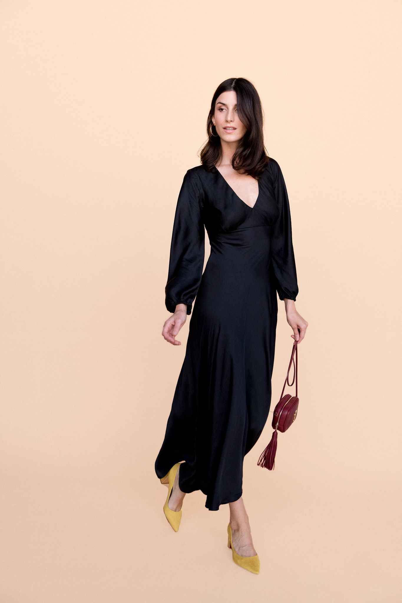Natasha Dress - Black Satin