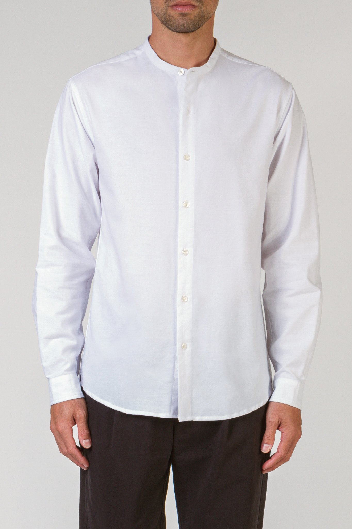 BAND COLLAR WHITE BUTTON DOWN SHIRT