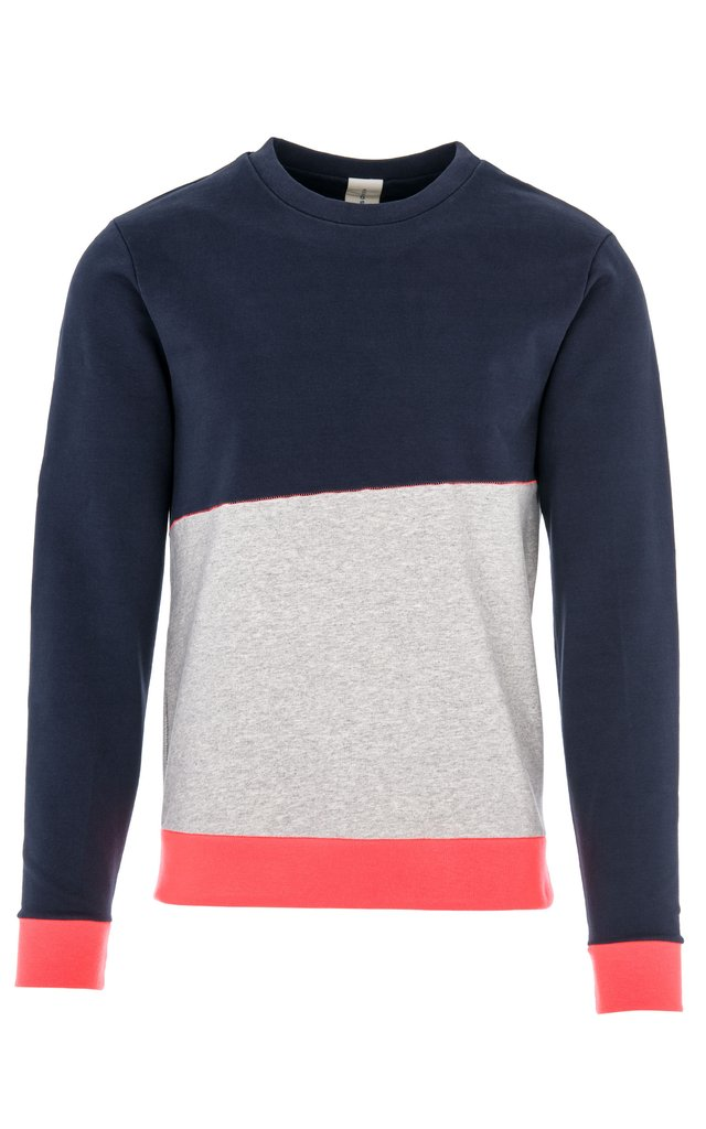 DANCER CONTRAST SWEATSHIRT / NAVY-LT GREY MEL-NEON RED
