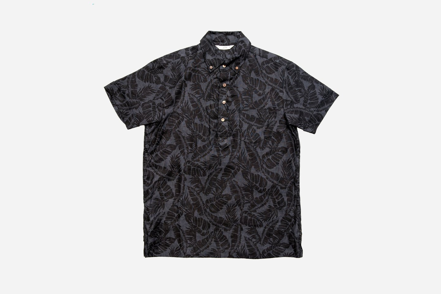 3sixteen Short Sleeve PopoverBlack Palm Print