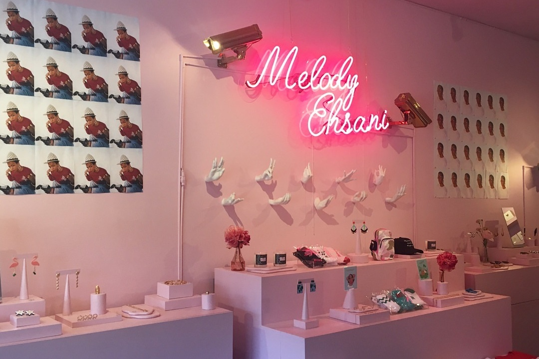 MELODY EHSANI - Among the mostly male streetwear boutiques is a standout female shop called Melody Ehsani. The M.E. style is inspired by paradox, controversy, justice and pushing the envelope. The boutique also features a Speaker Series with influential people like Serena Williams and Lena Waithe.Visit them IRL on Fairfax in West Hollywood.