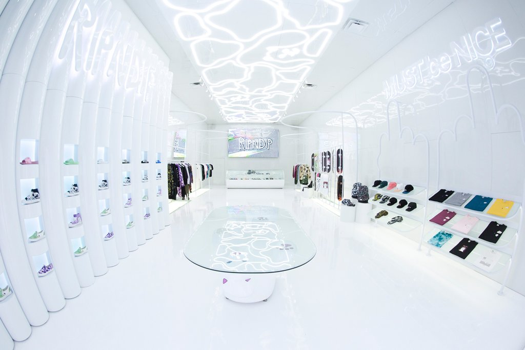 RIPNDIP - The newest boutique to Fairfax Ave is RIPNDIP. Taking the retail experience to the next level, the shop features a modern and sleek design that still encompasses the brand's distinct comedic approach.Visit them on Fairfax in West Hollywood.