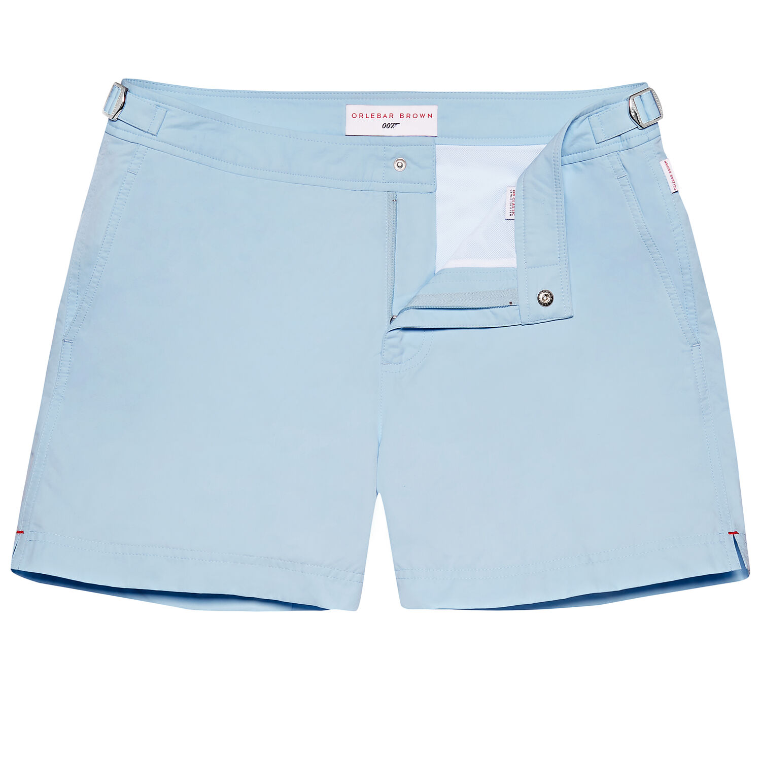 Orlebar Brown - Skyfall Setter in 007 Sky Blue / $295.00Who wouldn't want to be wearing the same shorts Daniel Craig sported in Skyfall? Love the cool adjustable sides and seamless front closure.
