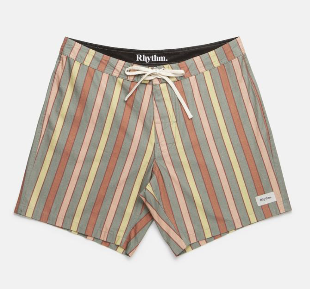 Rhythm - Vintage Stripe Trunk Dusted / $79.99For a totally vintage feel, go for these trunks with the perfect muted, color palette.
