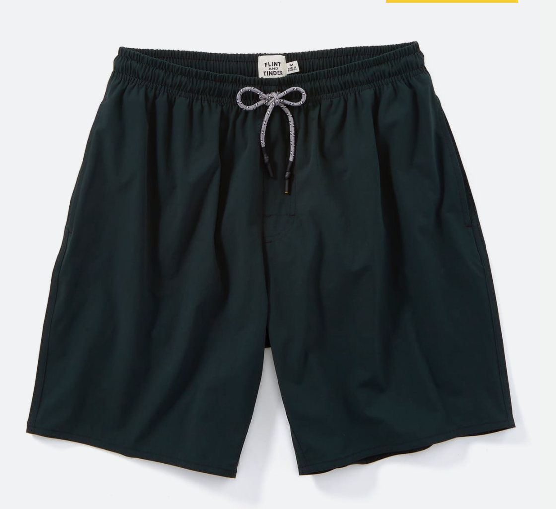 Flint and Tinder - Breaker Trunks/ $68.00Perfect shorts to go from hiking to swimming while still looking fresh in this jungle green color.