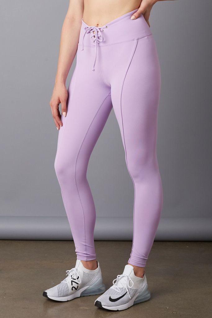 YEAR OF OURS - Football Leggings / $108.00This classic legging becomes not so ordinary with the lace up detail and the refreshing lavender color.