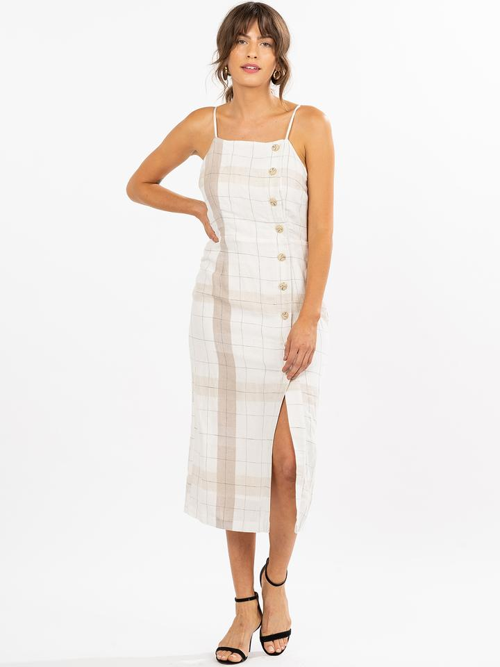 MoVint - Finley Dress / $74.80Button front and slit? This midi has the two hottest trends in one without being over the top.