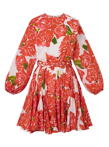 RHODE - Ella Dress in Rose Bouquet / $395With a full skirt and sleeves, this mini dress is kept casual with the bold floral print and braided belt.
