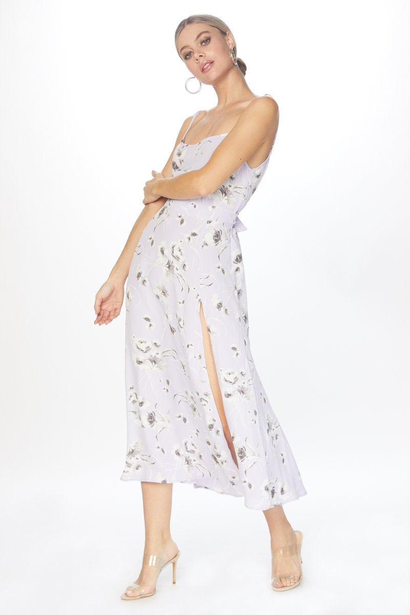 Flynn Skye - Hazel Midi / $158.00This 90s floral print stays modern with the sweet lavender color and the cool slit.