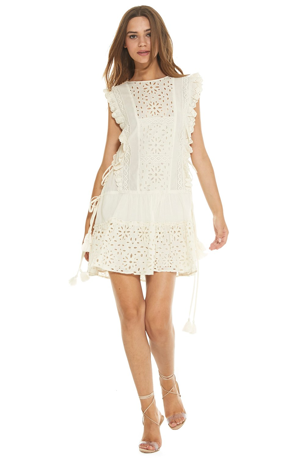 MISA - Marieta Dress / $370.00We all love a good white eyelet mini dress in the summer. With the tassel belt and loose fit, this breezy choice is a no-brainer.