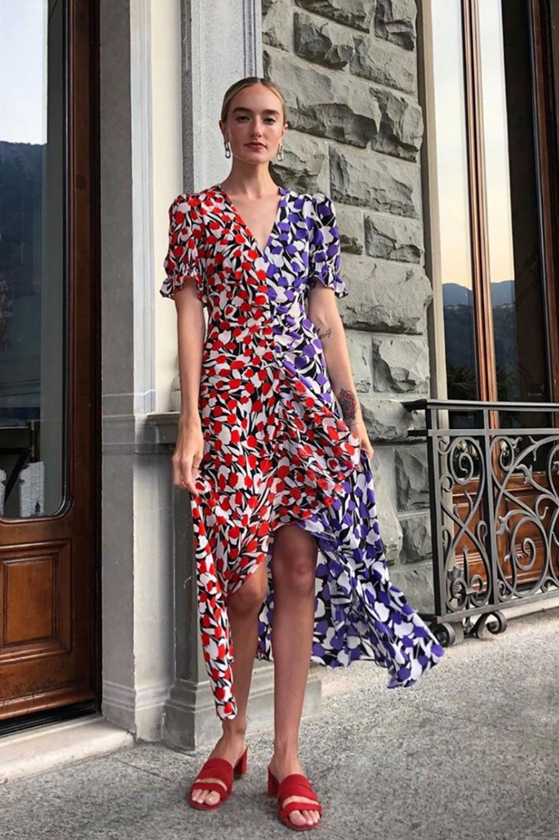 RIXO - Ariel – Red Purple 80s Tulip / $325.00This half and half midi dress is a great way to mix up your standard floral dress.