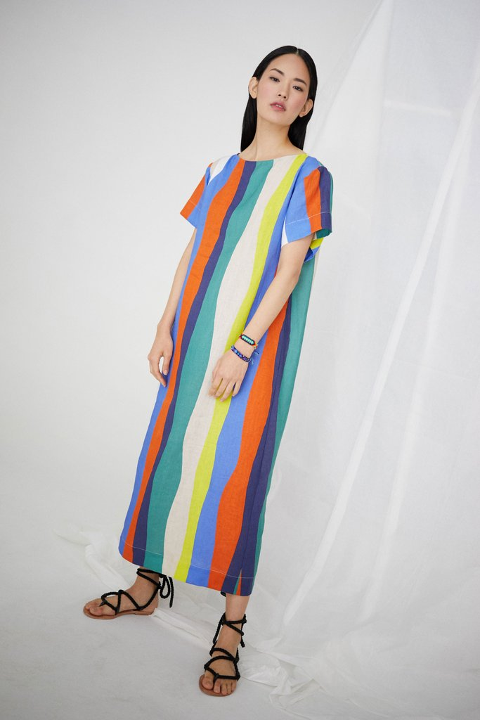 WHIT - Sonora Dress in Long Wavy Stripe / $264.00Loose. Linen. Dress. Need I say more?
