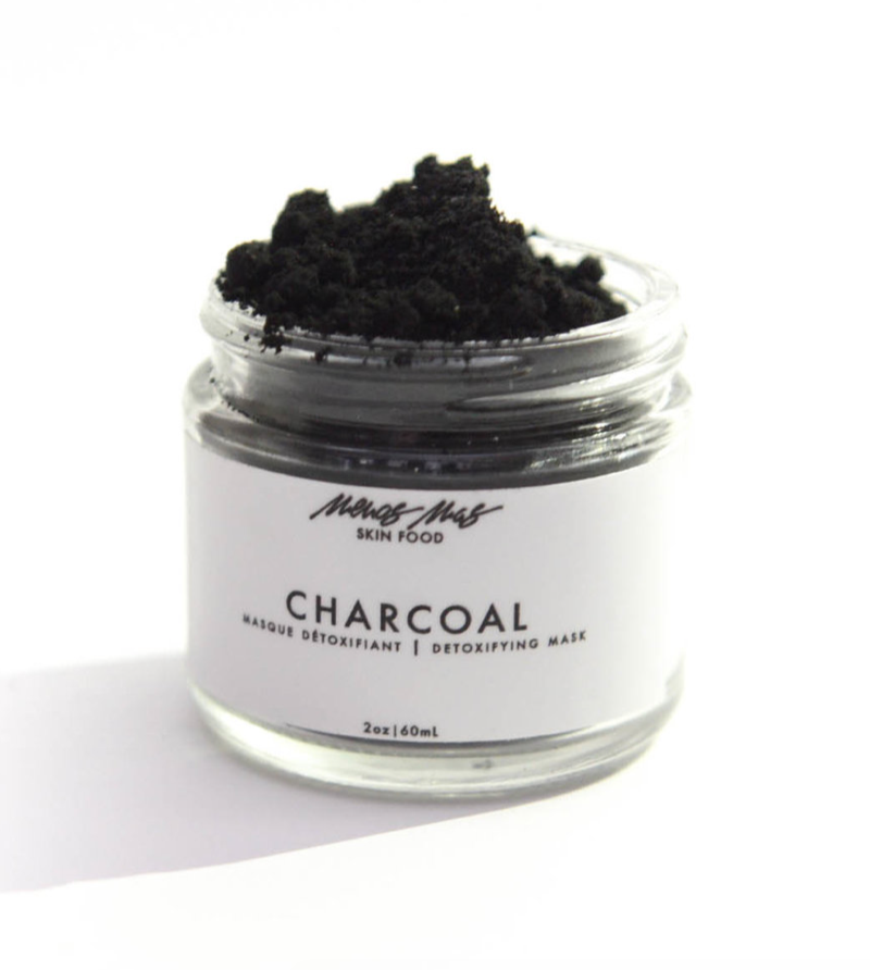 Menos Mas - Activated Charcoal Detoxifying Mask / $52This detoxifying mask is rich in anti-bacterial properties helping reduce the severity of acne by absorbing impurities from skin. While carrot seed smooths uneven skin tone finely-milled calendula helps serve a mild manual exfoliant helping soften, rejuvenate and smooth.