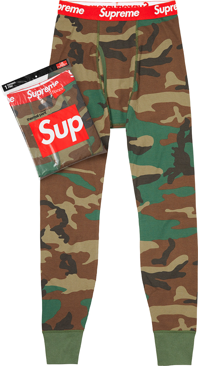 Thermal Pants - Camo made a comeback sometime ago, and Supreme is keeping the trend alive by way of a partnership with Hanes, and honestly, we're here for it!