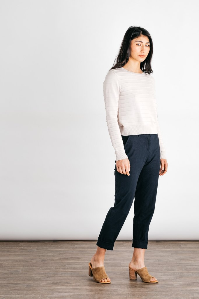 Bridge & Burn - Ribbed Sweater / $98Highly versatile, the Owen is our spring-ready ribbed sweater. A perfect canvas for building a simple, chic outfit.