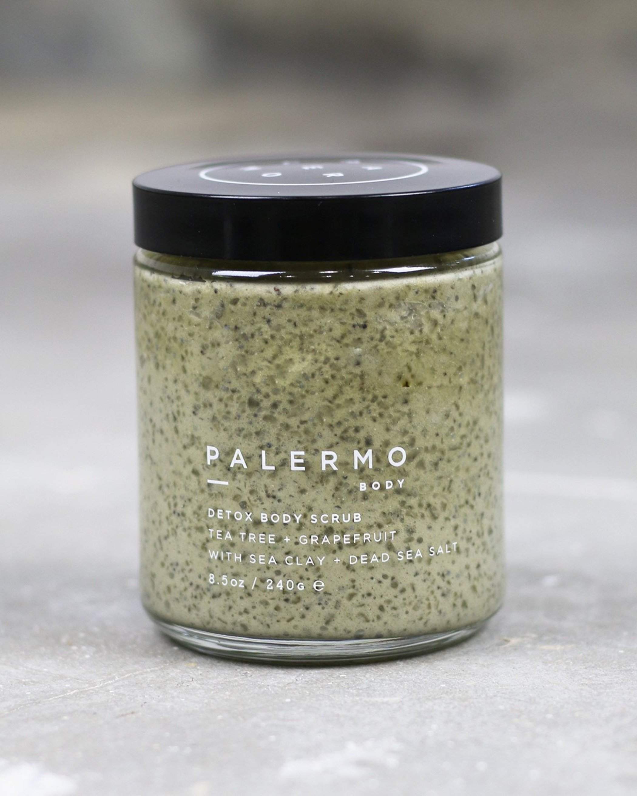 Palermo Body - Detox Body Scrub / $48Dead sea salt + pumice stone polish your skin with invigorating exfoliation while sea clay draws out toxins and impurities leaving skin feeling smooth and revitalized.