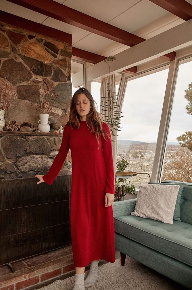 Christy Dawn - The Charlie Dress / $138Chili red always makes you stand out in the right way and this medium-weight mock neck beauty is as easily styled as it is insulating.