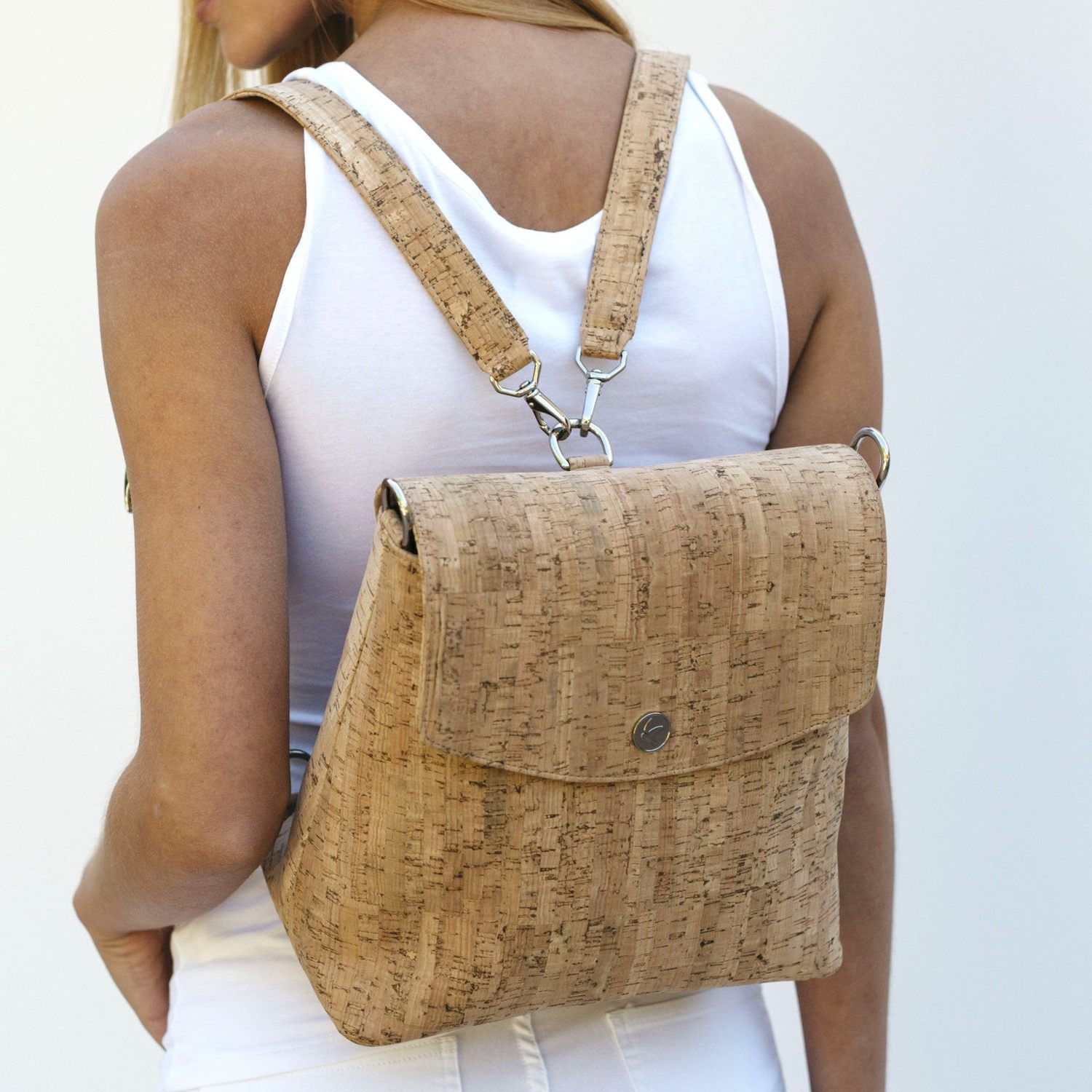 made trade - Svala Gemma Backpack Purse in Natural Cork / $295Sustainable. Vegan. USA Made. Women Owned. Made out of all natural, biodegradable cork - which is only the next big textile. Enjoy!