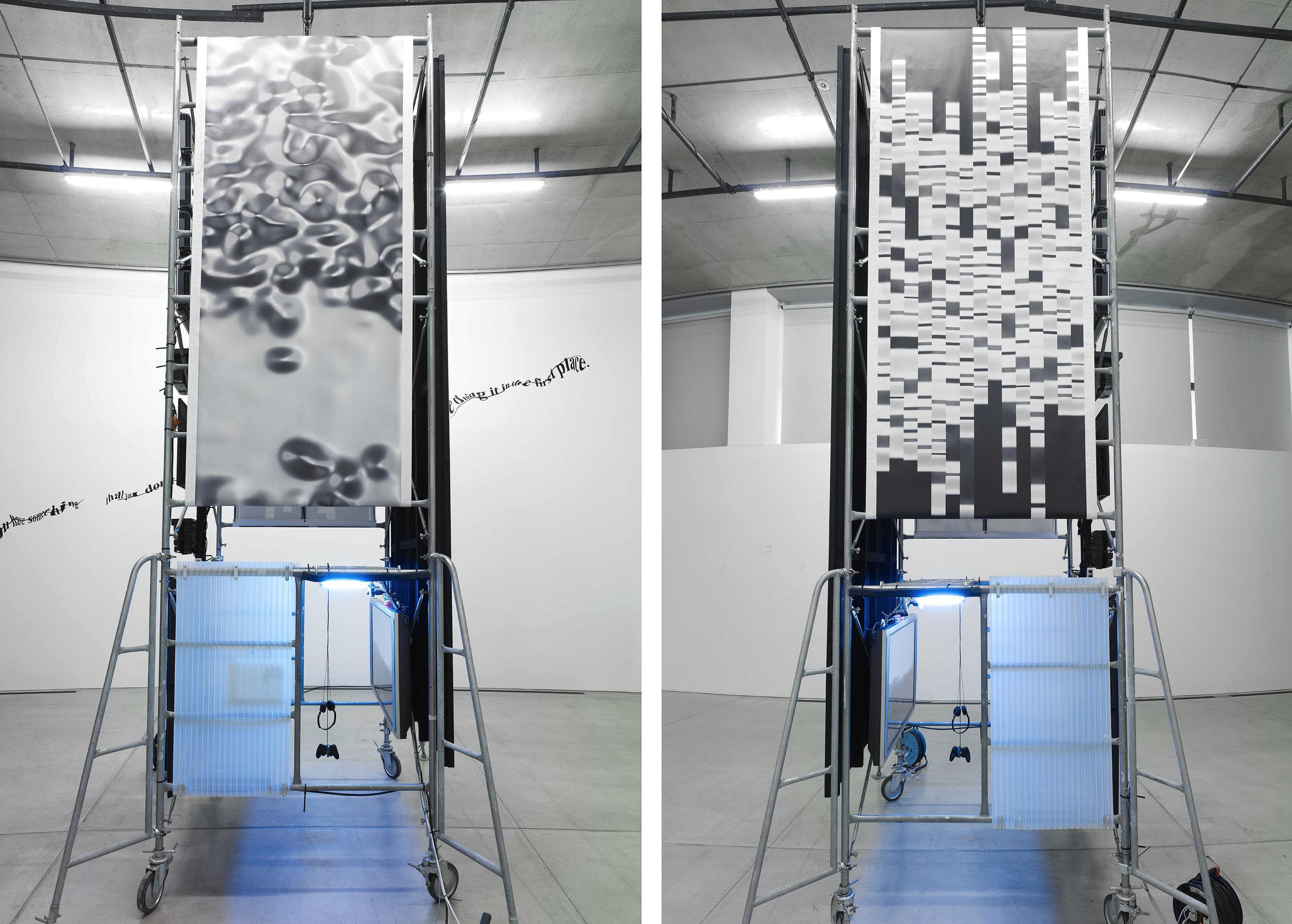Installation View Displaying  Statistical Motion Analysis , Digital Print on Vinyl. Photo Credit: Tadasu Yamamoto Courtesy of: ACAC