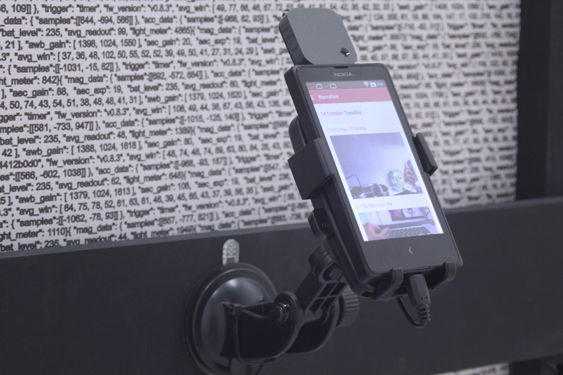 Narrative Data , Inkjet Print on Wood, Cell Phone, Narrative Clip, Narrative Clip app, and Cell Phone Holder.