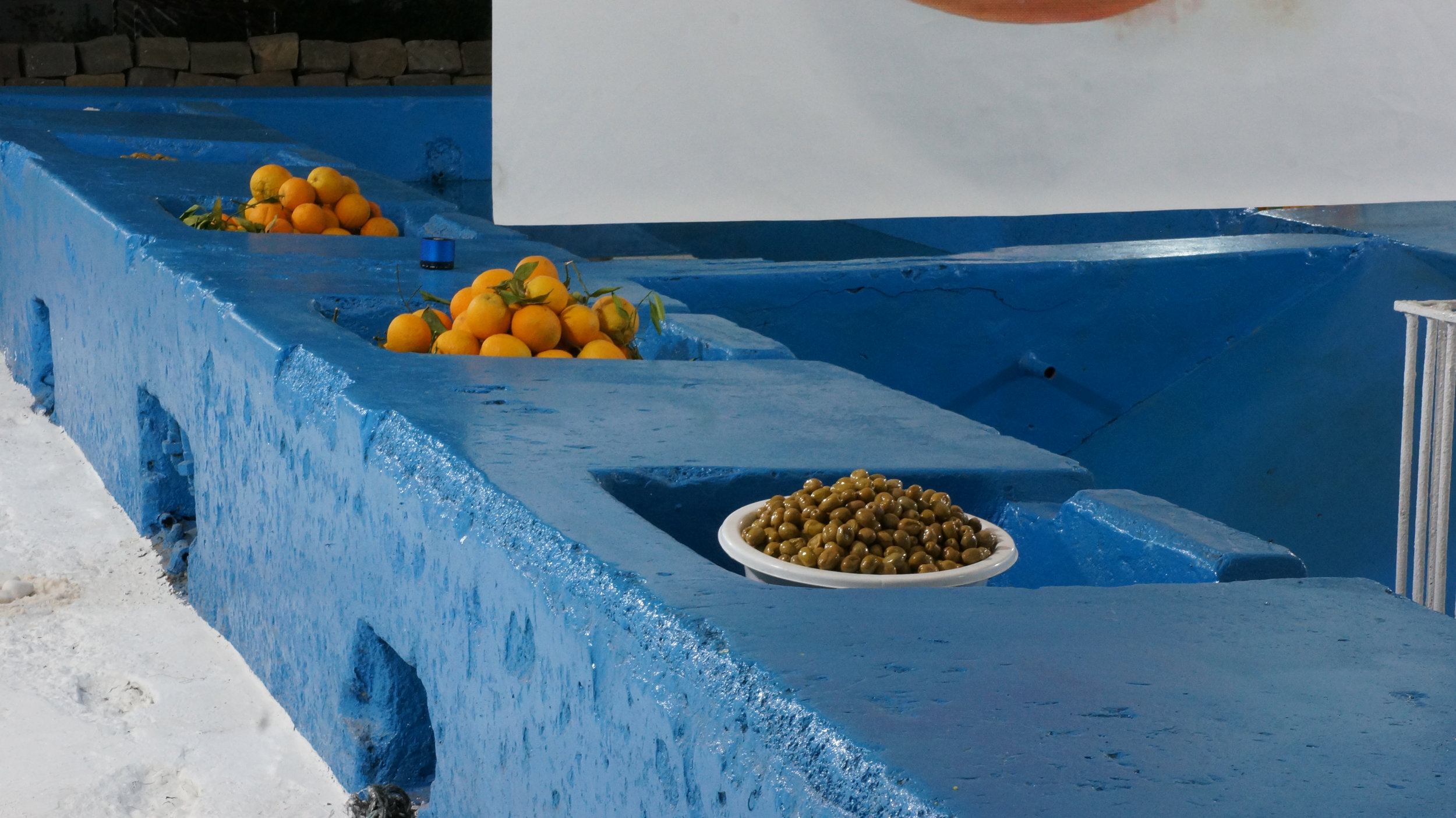 Olives and oranges from the market.